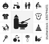 set of 12 editable baby icons....