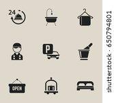 set of 9 editable motel icons....