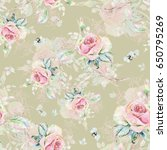 seamless rose pattern and... | Shutterstock . vector #650795269