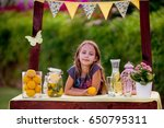 young girl standing at her... | Shutterstock . vector #650795311