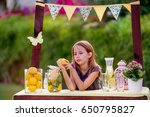 young girl standing at her... | Shutterstock . vector #650795827