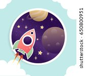 flying cartoon rocket with... | Shutterstock .eps vector #650800951