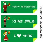 Christmas labels with different funny season pixel characters. - stock vector