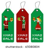 Christmas tag with different funny season pixels characters. - stock vector