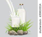 fresh milk background for label ... | Shutterstock . vector #650810314