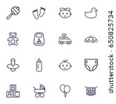 set of 16 kid outline icons set.... | Shutterstock .eps vector #650825734