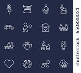 set of 16 family outline icons... | Shutterstock .eps vector #650830021