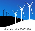 Group of Windmills silhouettes on blue and black background. Vector available. - stock vector