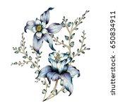 Stock photo watercolor flower illustration 650834911