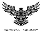 bald eagle mascot swooping with ... | Shutterstock . vector #650835109