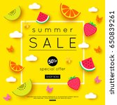 summer sale banner with pieces... | Shutterstock .eps vector #650839261