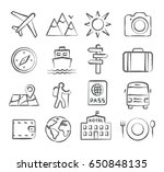 travel and tourism icon set in... | Shutterstock . vector #650848135