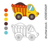 coloring book truck  kids... | Shutterstock .eps vector #650854069