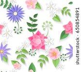 vector flowers seamless pattern ... | Shutterstock .eps vector #650854891