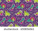 dinosaurs pink and purple... | Shutterstock .eps vector #650856061
