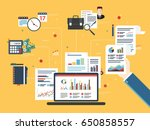 report with investment data and ... | Shutterstock .eps vector #650858557