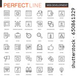 seo and development thin line... | Shutterstock .eps vector #650861329