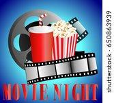cinema background with popcorn...   Shutterstock .eps vector #650863939