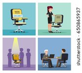 job vacancy illustration set.... | Shutterstock .eps vector #650865937