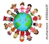 multicultural children holding... | Shutterstock .eps vector #650866639