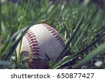 All american baseball laying in green grass outside in outfield.  Great ball player background or sport graphic.