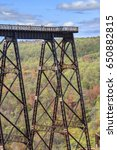 Small photo of McKEAN COUNTY, PENNSYLVANIA, USA - OCTOBER 1, 2015: The Kinzua Bridge, a former railway bridge of the Erie Railroad in McKean County, Pennsylvania, USA. The bridge collapsed in 2003 due to a tornado.