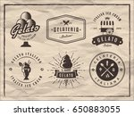set of gelato badges on vintage ... | Shutterstock .eps vector #650883055