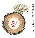 sale promotional card with wood ... | Shutterstock .eps vector #650908501