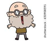 cartoon joyful man with beard | Shutterstock .eps vector #650908591