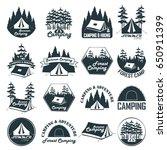 set of vintage camping emblems  ... | Shutterstock .eps vector #650911399