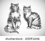Two Cats Realistic Drawing  ...
