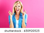 young woman crossing her... | Shutterstock . vector #650920525