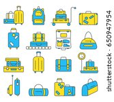 luggage icon set. backpack ... | Shutterstock .eps vector #650947954