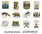 set of engraved vintage  hand... | Shutterstock .eps vector #650958925
