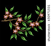 patch branch flowers embroidery ... | Shutterstock .eps vector #650971531