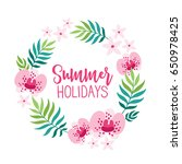 summer wreath with tropical... | Shutterstock .eps vector #650978425