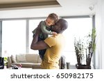 young afro american father with ... | Shutterstock . vector #650982175