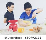 children are happily making a... | Shutterstock . vector #650992111