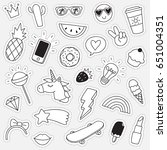 hand drawn doodle stickers | Shutterstock .eps vector #651004351