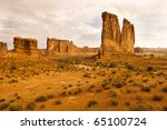 sandstone formations are bathed ... | Shutterstock . vector #65100724