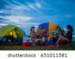 camping of happy asian young... | Shutterstock . vector #651011581