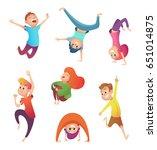 happy kids in motion. children... | Shutterstock .eps vector #651014875