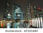 Singapore Skyline And River At...