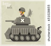 cartoon tank in a flat style.... | Shutterstock .eps vector #651028855