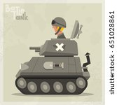cartoon tank in a flat style.... | Shutterstock .eps vector #651028861