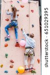 free climber kid boy and girl... | Shutterstock . vector #651029395
