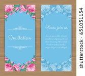 floral invitation or greeting... | Shutterstock .eps vector #651051154