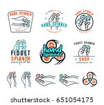 set of hand spinner emblems.... | Shutterstock .eps vector #651054175