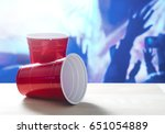 2 Plastic Red Party Cups On A...