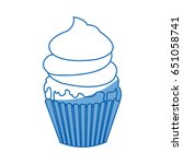 sweet cupcake cream food party... | Shutterstock .eps vector #651058741